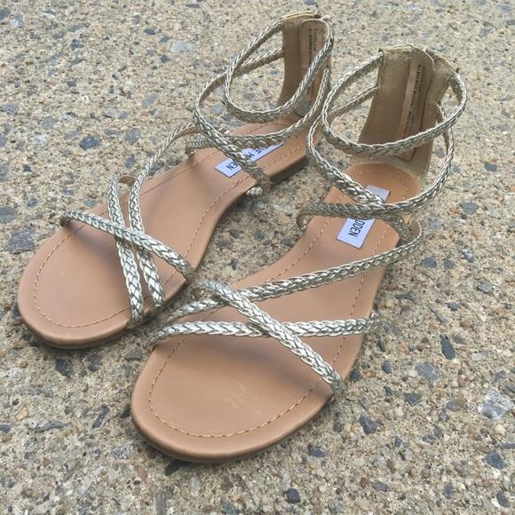 d6d969f0c9ca8 steve madden gold strapped zip sandals. M 5b3a5676819e907c9d84e3c3